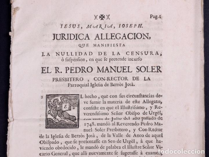 JURÍDICA ALEGACIÓN PARA LA NULIDAD DE LA CENSURA R.PEDRO MANUEL SOLER, TARRAGONA 1749 (Coleccionismo - Documentos - Otros documentos)
