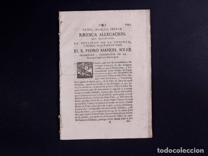 Documentos antiguos: JURÍDICA ALEGACIÓN PARA LA NULIDAD DE LA CENSURA R.PEDRO MANUEL SOLER, TARRAGONA 1749 - Foto 2 - 81343488