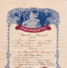 Documentos antiguos: NACIMIENTO 1925 LABORATORIO MIRET BARCELONA. Lote 81443864
