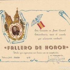 Documentos antiguos: FALLERO DE HONOR FALLA PLAZA LOPE DE VEGA VALENCIA 1962 (15X22CTMS). Lote 81448340