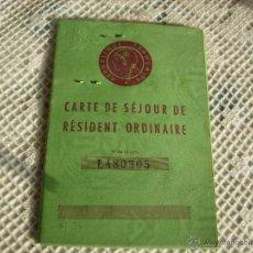 Documents Anciens: **DOCUMENTO PARA RESIDENTES EN FRANCIA AÑOS 60**. Lote 81551040