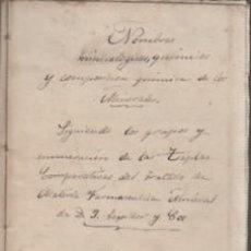 Documentos antiguos: ESPECIE DE MANUSCRITO 1881 - NOMBRES MINERALES QUIMICOS Y COMPOSICIÓN QUIMICA MINERALOGIA F. BASSOLS. Lote 81560060