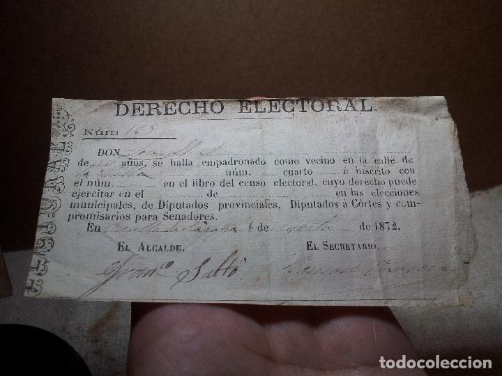 CENSO. PAPELETA. DERECHO ELECTORAL.OMELLS DE NAGAYA . AÑO 1872 .SELLOS. TIMBRES. GUERRA CARLISTA (Coleccionismo - Documentos - Otros documentos)