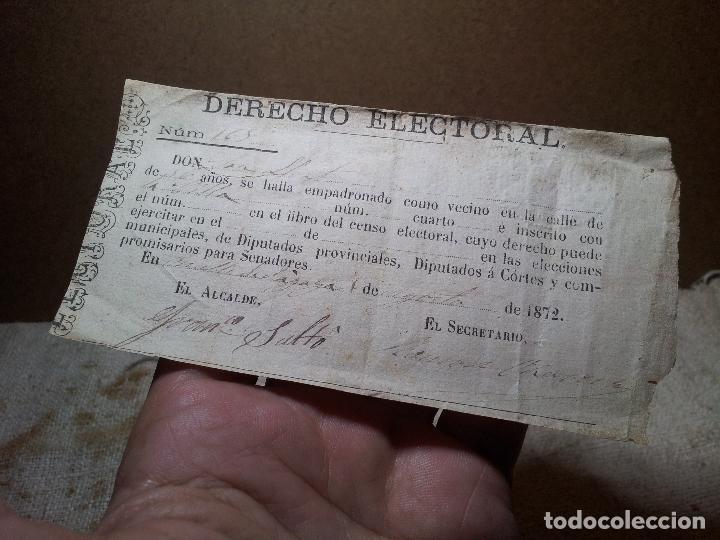 Documentos antiguos: CENSO. PAPELETA. DERECHO ELECTORAL.OMELLS DE NAGAYA . AÑO 1872 .SELLOS. TIMBRES. GUERRA CARLISTA - Foto 4 - 81563628