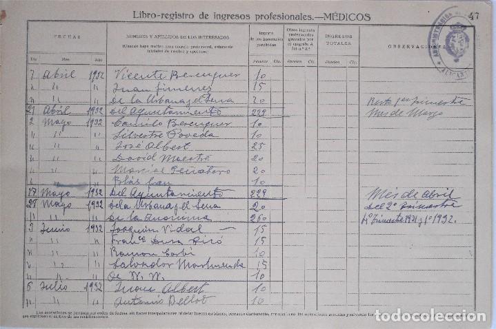 Documentos antiguos: MONOVAR (ALICANTE) LIBRO-REGISTRO DE INGRESOS PROFESIONALES - MÉDICOS - DE 1923 A 1958 - Foto 5 - 81701816