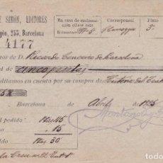 Documentos antiguos: RECIBO 1925 BARCELONA. Lote 81827884