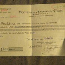 Alte Dokumente - RECIBO SOCIEDAD ANÓNIMA CROS BARCELONA ABONOS PRODUCTOS QUÍMICOS 1932 - 82037036