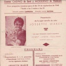 Documentos antiguos: CINEMAS CASINO DE GAVÁ Y MODERNO DE VILADECANS BARCELONA 1948. Lote 82120908