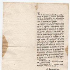 Documentos antiguos: REAL DECRETO RECUPERACIÓN COMPETENCIAS MUNICIPALES. FERNANDO VII. AYUNTAMIENTO BARCELONA. 1814. Lote 82580624