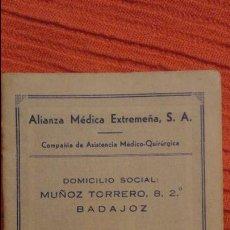 Documentos antiguos: ANTIGUO CARNET IDENTIDAD.ALIANZA MEDICA EXTREMEÑA.CONCEPCION CUESTA TAMEZ.BADAJOZ.1959. Lote 82654884