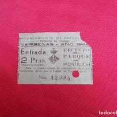 Documentos antiguos: ENTRADA. XII FERIA OFICIAL. INTERNACIONAL DE MUESTRAS EN BARCELONA. AÑO 1944.. Lote 83062104