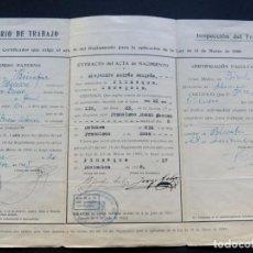 Documentos antiguos: CERTIFICADO DE TRABAJO / PERMISO PATERNO / TRABAJADOR DE 14 AÑOS / BINEFAR / HUESCA. Lote 83121500
