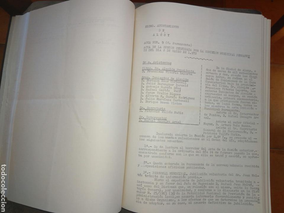 RECOPILATARIO DE ACTAS, ACUERDOS, DE SESIONES AYUNTAMIENTO ALCOY AÑO 1972. (Coleccionismo - Documentos - Otros documentos)