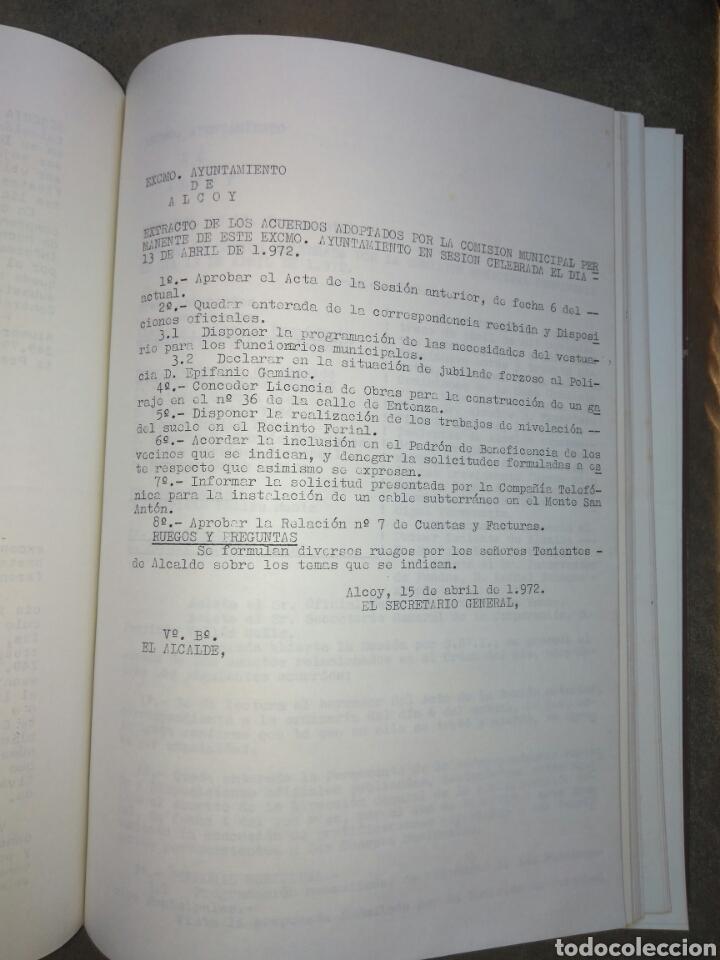 Documentos antiguos: Recopilatario de Actas, Acuerdos, de Sesiones Ayuntamiento Alcoy Año 1972. - Foto 6 - 83292216