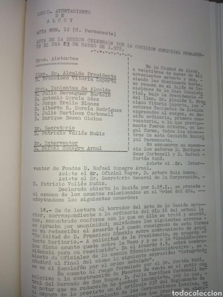 Documentos antiguos: Recopilatario de Actas, Acuerdos, de Sesiones Ayuntamiento Alcoy Año 1972. - Foto 8 - 83292216