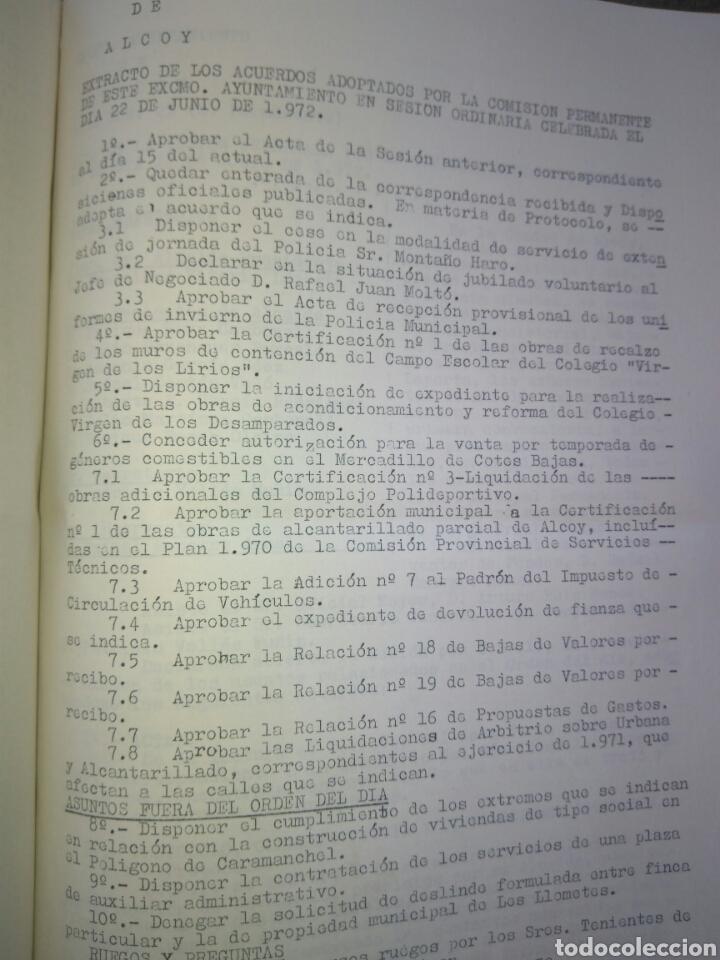 Documentos antiguos: Recopilatario de Actas, Acuerdos, de Sesiones Ayuntamiento Alcoy Año 1972. - Foto 9 - 83292216