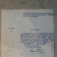 Documentos antiguos: CORREOS. PERSONAL BENEJAMA ALICANTE.1939. Lote 83338502