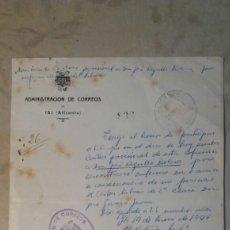 Documentos antiguos: CORREOS, IBI ,ALICANTE. Lote 83339612