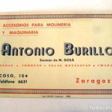 Documentos antiguos: TARJETA COMERCIAL O VISITA PUBLICIDAD ACCESORIOS MOLINERIA Y MAQUINARIA ANTONIO BURILLO ZARAGOZA. Lote 83662060