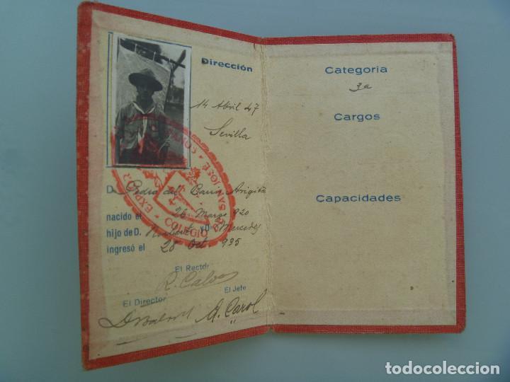 CARNET DE BOY SCOUTS, COLEGIO SAN JOSE DE SEVILLA, EXPLORADORES HISPANOS. 1947, INGRESO 1935 (Coleccionismo - Documentos - Otros documentos)