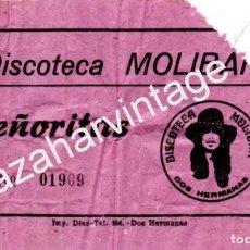 Documentos antiguos: DOS HERMANAS, ANTIGUA ENTRADA DISCOTECA MOLIBAR, MUY RARA, . Lote 83929768