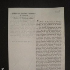 Documentos antiguos: GOBIERNO POLITICO SUPERIOR DE CATALUÑA - DOCUMENTO ANTIGUO-AÑO 1821 -VER FOTOS (V-10.643). Lote 83942348