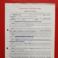 Documentos antiguos: CONTRATO,PRODUCCIONES JOAQUIN CASA.COMPAÑIA SARA MONTIEL EN PERSONA.8-AGOSTO-1970.CALAHORRA.. Lote 84216160
