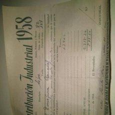 Documentos antiguos: RECIBO CONTRIBUCIÓN INDUSTRIAL 1958 ASPE ALICANTE - INDUSTRIA DE FERRETERÍA MENOR . HACIENDA PÚBLICA. Lote 84269122