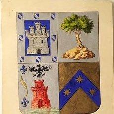 Documentos antiguos: ESCUDO. HERÁLDICA. (PINTURA ORIGINAL SOBRE PAPEL A COLOR, ORO Y PLATA. FORMATO 30 X 22 CM. Lote 84558472