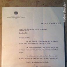 Documentos antiguos: CARTA DIRIGIDA A CARMEN LLORCA FIRMADA POR EUGENIO NASARRE 1974. Lote 84635447