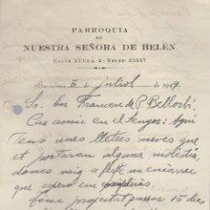 Documentos antiguos: CARTA PARROQUIA DE NUESTRA SEÑORA DE BELEN BARCELONA 1949. Lote 84807004