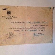 Documentos antiguos: REFORMATORIO DE ADULTOS, ALICANTE 1940. Lote 84636108