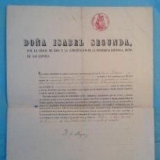 Documentos antiguos: 1854 ISABEL II NOMBRA VOCAL DE AGRICULTURA E INDUSTRIA A MINISTRO * FIRMA REAL Y FIRMA MINISTRO. Lote 85228664