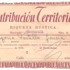 Documentos antiguos: RECIBO, CONTRIBUCIÓN TERRITORIAL 1958, RIQUEZA RÚSTICA, CARRANZA-VIZCAYA. Lote 85633204