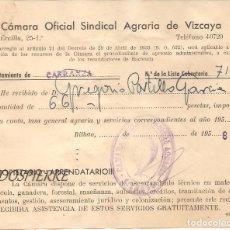 Documentos antiguos: RECIBÍ, AYUNTAMIENTO CARRANZA-VIZCAYA, CÁMARA OFICIAL SINDICAL AGRARIA VIZCAYA, 1958. Lote 85633752