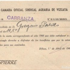 Documentos antiguos: RECIBÍ, AYUNTAMIENTO CARRANZA-VIZCAYA, CÁMARA OFICIAL SINDICAL AGRARIA VIZCAYA, 1950. Lote 85633864