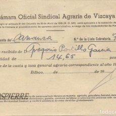Documentos antiguos: RECIBÍ, AYUNTAMIENTO CARRANZA-VIZCAYA, CÁMARA OFICIAL SINDICAL AGRARIA VIZCAYA, 1949. Lote 85633924
