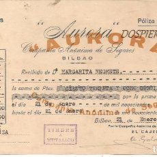 Documentos antiguos: RECIBO PÓLIZA SEGURO, AURORA POLAR-SEGUROS, BILBAO 1950. Lote 85635256