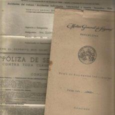 Documentos antiguos: POLIZA DE SEGURO INDIVIDUAL MUTUAL G. DE SEGUROS AÑO 42 SOBRE Y POLIZA ESTEPONA . Lote 85749812