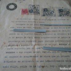 Documentos antiguos: ANTIGUO CONTRATO DE TRASPASO DE NEGOCIO DE VINOS EN ARENYS DE MAR, CALLE DE LA IGLESIA Nº 6 AÑO1947. Lote 85912276