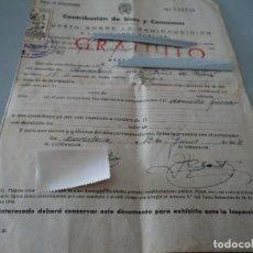 Documentos antiguos: IMPUESTO SOBRE LA RADIO AUDICION - 1954 BADALONA. Lote 85913388