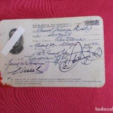 Documentos antiguos: CARNET TARJETA DE IDENTIDAD. SARGENTO ARTILLERIA. 1944.. Lote 85937040