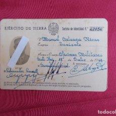 Documentos antiguos: CARNET TARJETA DE IDENTIDAD. EJÉRCITO DE TIERRA. TENIENTE. SIDI IFNI. 1963.. Lote 85938008