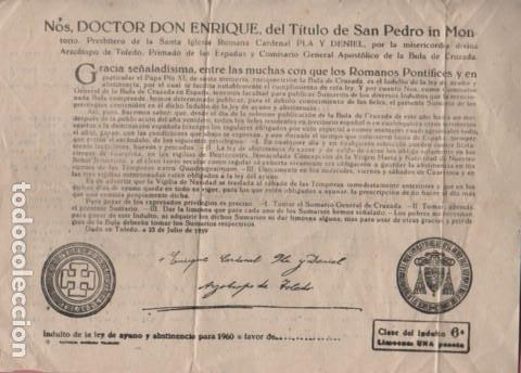 DOCUMENTO INDULTO DE LA LEY DE AYUNO Y ABSTINENCIA PARA 1960 - TOLEDO (Coleccionismo - Documentos - Otros documentos)