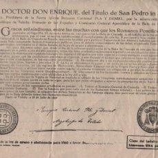 Documentos antiguos: DOCUMENTO INDULTO DE LA LEY DE AYUNO Y ABSTINENCIA PARA 1960 - TOLEDO. Lote 86154704
