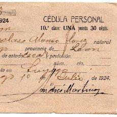 Documentos antiguos: CÉDULA PERSONAL 1924 PROVINCIA DE LEÓN - RESIDENTE EN LUYEGO . Lote 86199288