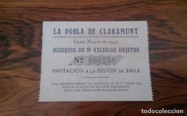 LA POBLA DE CLARAMUNT TIKET ENTRADA FIESTA MAYOR 1951. (Coleccionismo - Documentos - Otros documentos)