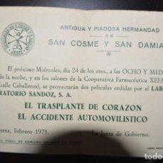 Documentos antiguos: ACTIVIDAD DE LA HERMANDAD SAN COSME Y SAN DAMIAN. PROYECCION PELICULAS. 1971. JEREZ. Lote 86490772