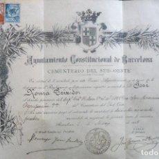Documentos antiguos: BARCELONA.'CONCESION DERECHO FUNERARIO' CEMENTERIO SUD-OESTE 1908. Lote 86556100