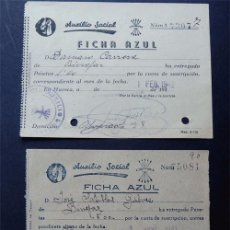 Documentos antiguos: AUXILIO SOCIAL - FICHA AZUL / HUESCA 1941 - 1942. Lote 87006756